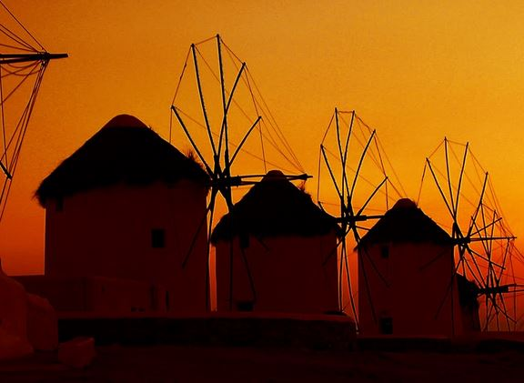 Greece Mykonos windmill sunset