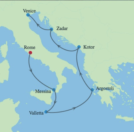 italy greece adriatic cruise map